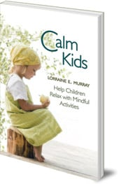 calm kids book - teaching children meditation - small girl mindfully with apple